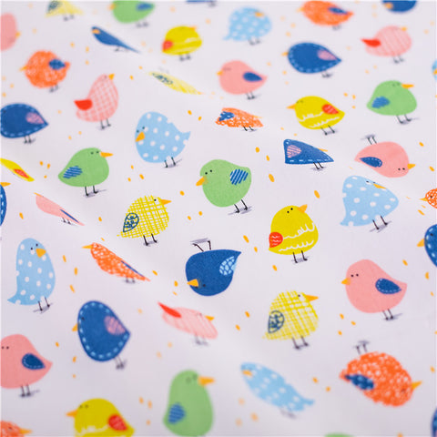 Easter - white multicolour chirping birds cotton fabric W:160cm FQ2103-09