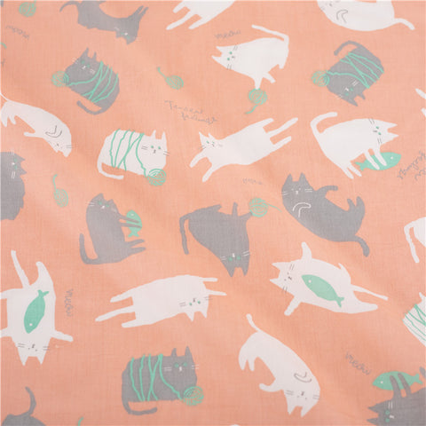 Pets - pink & grey cat kitty cotton fabric W:125cm FQ2103-10