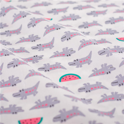 Zoo - white & grey crocodile & watermelon cotton fabric W:160cm FQ2103-15