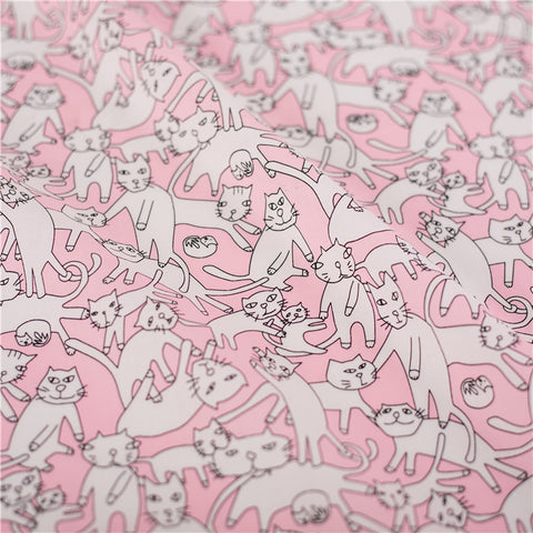 Pets - pink lazy cats kitten cotton fabric W142cm FQ2103-16