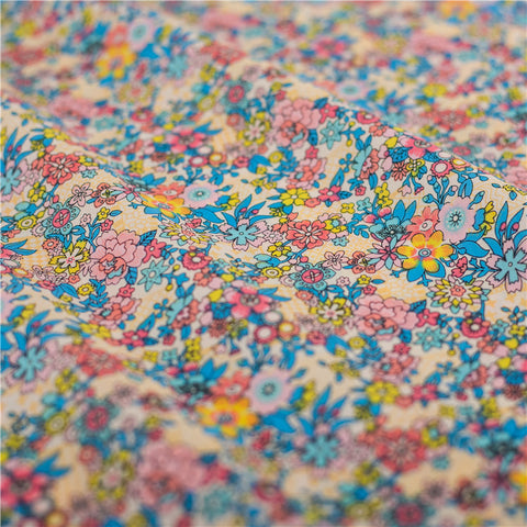 Ditsy - blue & pink multicolour retro floral cotton fabric W145cm FQ2103-27