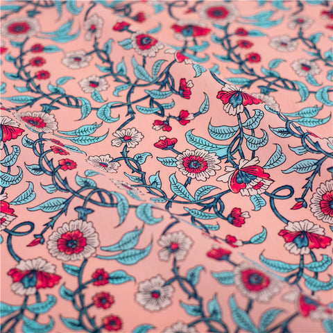 Floral - pink & blue retro flowers cotton fabric W145cm FQ2103-34