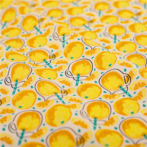 Fruit - yellow lemonade cotton fabric W145cm FQ2103-40