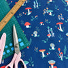 Woodland - blue toadstool mushrooms cotton fabric W145cm FQ2104-03