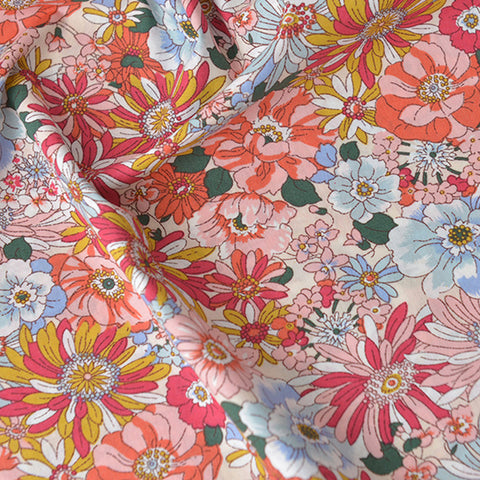Flowers - red & pink floral cotton fabric W140cm FQ2104-06