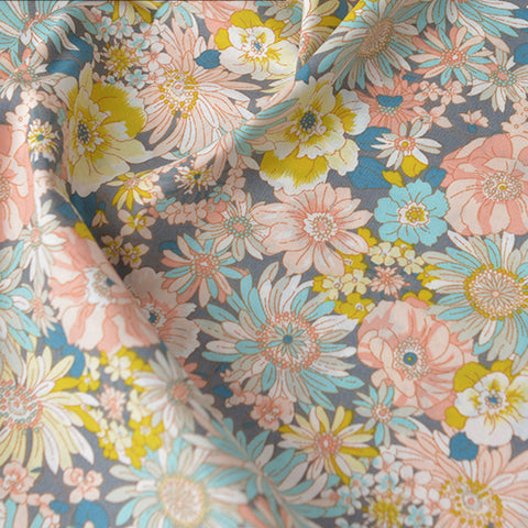 Flowers - pink & blue floral cotton fabric W140cm FQ2104-07