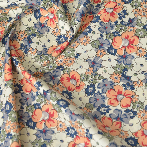 Ditsy - blue & orange petite floral cotton fabric W140cm FQ2104-08
