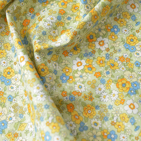 Ditsy - green & yellow petite floral cotton fabric W140cm FQ2104-09