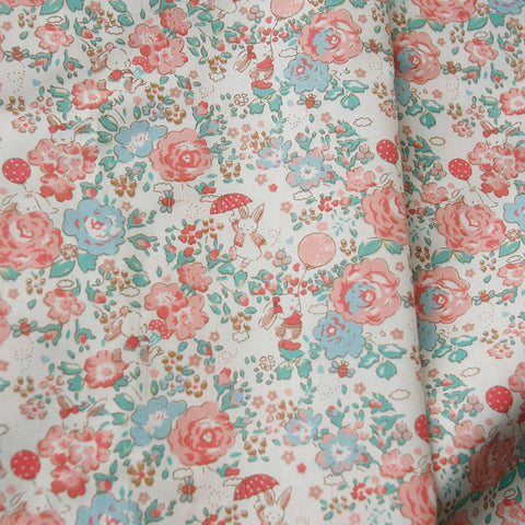 Easter - pink bunny rabbit & roses floral cotton fabric W145cm FQ2104-10