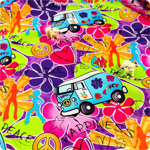 Transport - multicoloured camper van & flowers cotton fabric HM1308-06