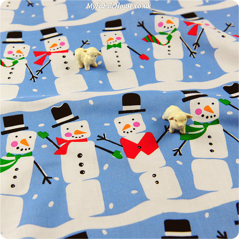 Christmas - blue & white snowman cotton fabric HM1308-07