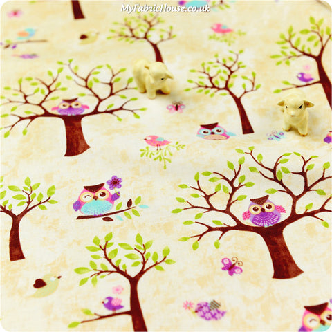 Owls - beige owls on tree branches cotton fabric HM1308-08