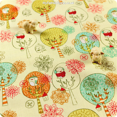 Owls - beige owls & trees cotton fabric HM1308-15