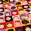 [SALE] Multicoloured smiling girls patchwork cotton fabric W:100cm FQ1308-35