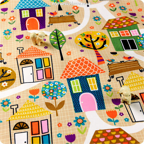 Home & Garden - beige multicoloured houses & trees fabric HM1308-17