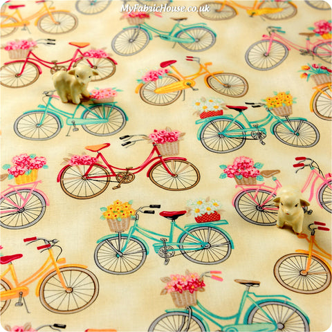 Transport - beige multicoloured spring bicycles fabric HM1308-18