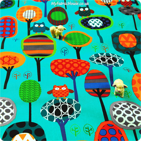 Woodland - blue multicoloured owls & trees cotton fabric HM1308-19