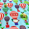 [SALE] Christmas - blue glitter hot air balloons with Father Christmas & penguins cotton fabric W:108cm FQ1505-01