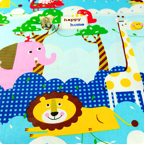Zoo - blue multicoloured animals (extra wide 160cm) cotton fabric HM1505-47