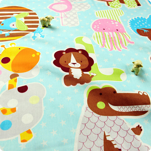 Zoo - blue multicoloured animal alphabet starry (extra wide 160cm) cotton fabric HM1505-48