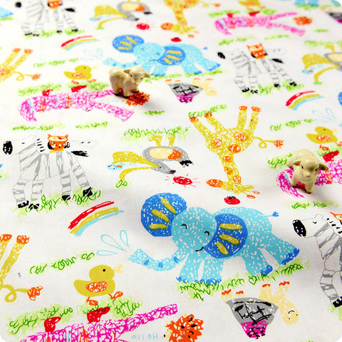 Zoo - white multicoloured elephant giraffe & crocodile (width: 160cm) cotton fabric HM1505-49