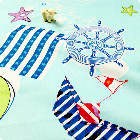 [SALE] Nautical - blue seaside & boat cotton fabric W:160cm FQ1505-50