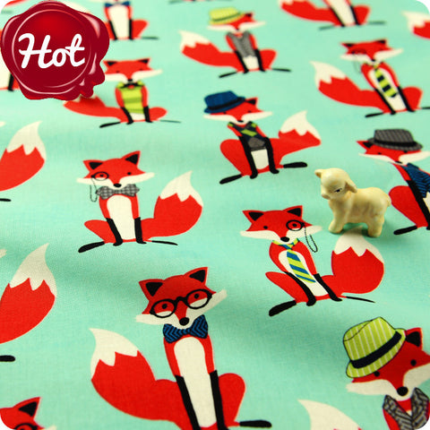 Zoo - blue aqua & red smart foxes cotton fabric FQ1602-49