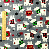 Christmas - grey polar bear flannel brushed cotton fabric