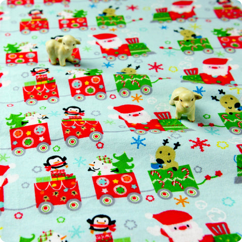 Christmas - blue green & red toy train flannel brushed cotton fabric HM1608-49
