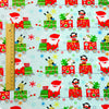 Christmas - blue green & red toy train flannel brushed cotton fabric