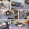 Japanese - blue navy fan & stripe patchwork (width: 160cm) cotton fabric FQ1606-53
