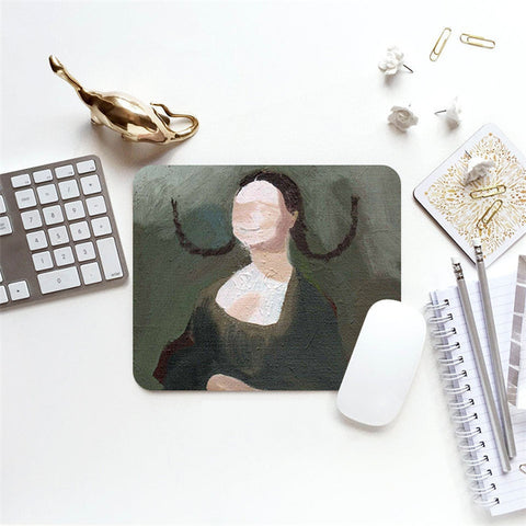 MFH LAB - grey fun Mona Lisa oil painting 23x20cm mouse pad MP2101-15