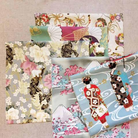 Japanese - blue, grey & beige geisha & floral cotton fabric bundle 5FQs PK2009-02