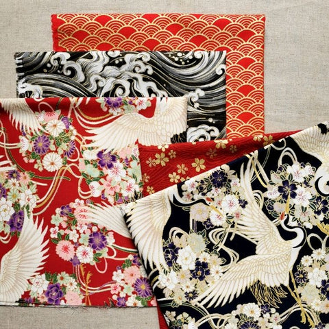 Japanese - black & red cranes & waves cotton fabric bundle 5FQs PK2009-04