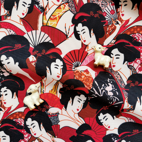 Japanese - red & black geisha stretchy polyester fabric W:145cm FQ2006-16