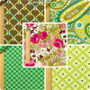 Flowers - green retro floral cotton fabric bundle 5FQs PK1111-11