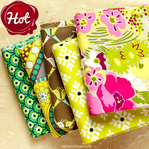 Buy cotton fabric - Green Retro Flowers Fabric Bundle £13.99 | My Fabric House