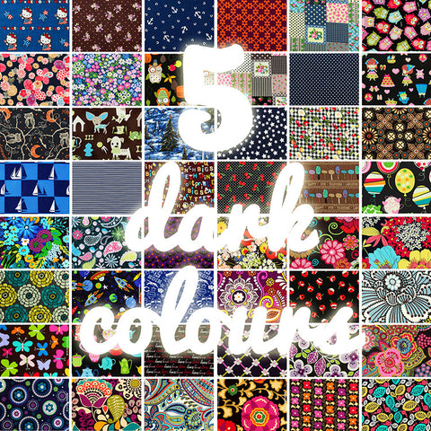 Lucky dip - 25x25cm - random fabric bundle - dark colours