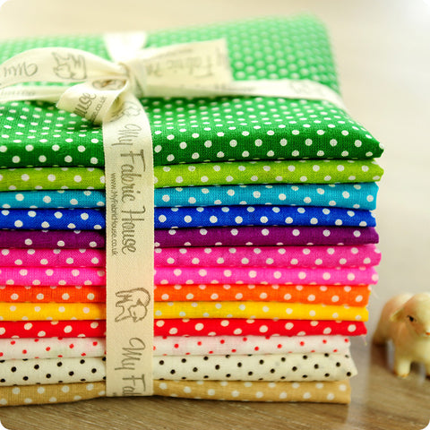 Polka dots - 30x18cm multicoloured rainbow cotton fabric bundle 13pcs PK1204-04