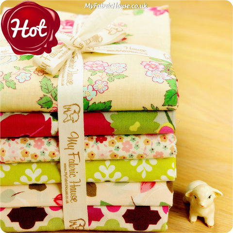 Fat Quarter Fabric Bundle - Beige Pink Floral £15.99 | My Fabric House