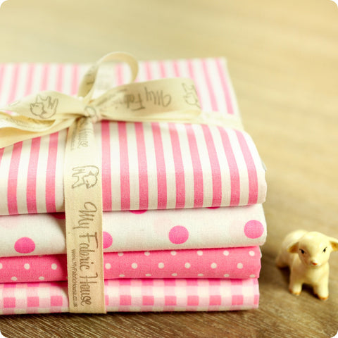 Polka dots - pink stripes cotton fabric bundle 4FQs