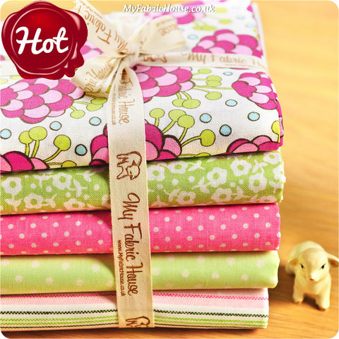 Fat Quarter Fabric Bundle - Green Pink Floral £12.99 | My Fabric House