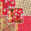 Christmas - red & beige cotton fabric bundle 5FQs PK1308-05