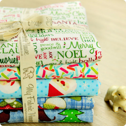 Christmas - blue & white cotton fabric bundle 5FQs PK1308-11