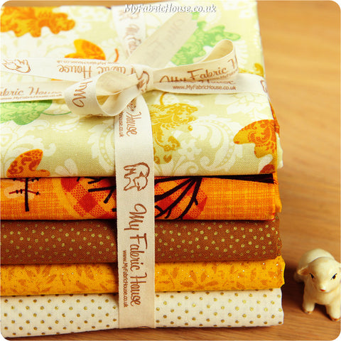 Fat Quarter Fabric Bundle - Gold Autumn Leaf £15.99 | My Fabric House