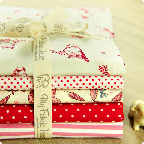 Birds - red & pink umbrella & basics cotton fabric bundle 5FQs PK1401-07