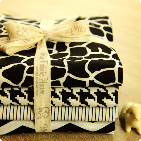 Monochrome - black & white geometric cotton fabric bundle 4FQs