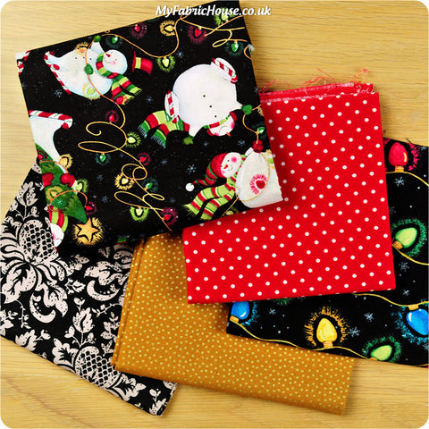 Christmas - black, gold & red cotton fabric bundle 5FQs PK1408-16