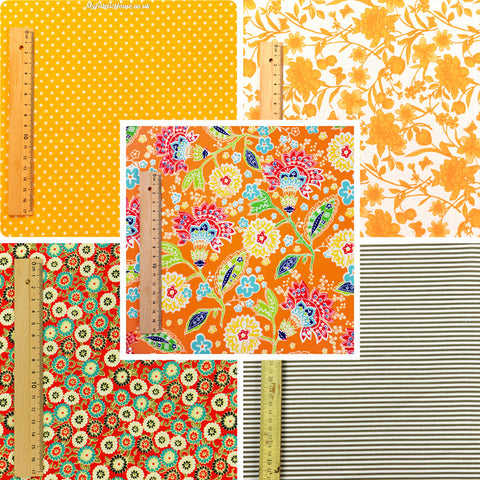 Flowers - orange & grey retro floral cotton fabric bundle 5FQs PK1411-01