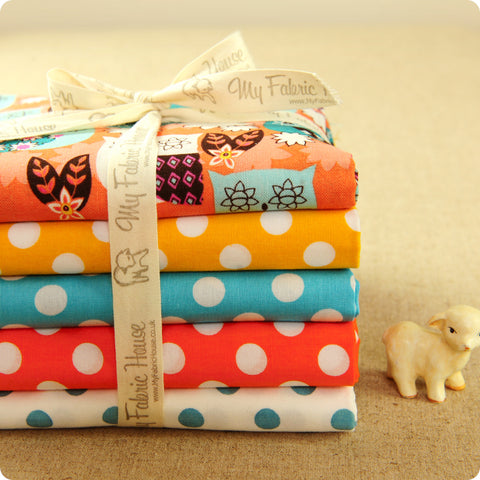 Owls - blue teal & orange cotton fabric bundle 5FQs